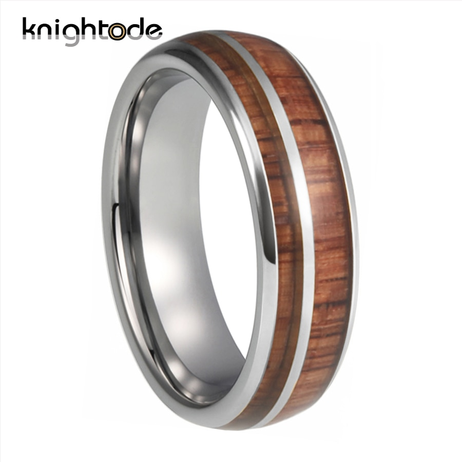 8mm Silvery Tungsten Wedding Band 2 Grooves Rose Wood Inlay For Men Women Engagement Anniversary Rings Dome Polishing Finish