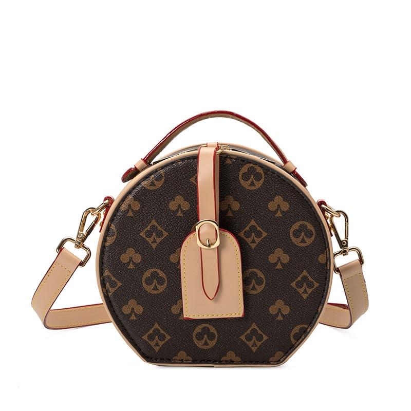 ¡Novedad de 2020! Bolso para mujer, bolso redondo pequeño con estampado Retro salvaje, bolsos de moda de alta calidad con Diagonal para hombro, bolso de mano para mujer