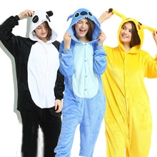 Yeni hayvan Unicorn pijama yetişkin kış pijama Kigurumi dikiş Panda Pikachu pijama kadın Onesie Anime kostümleri tulum