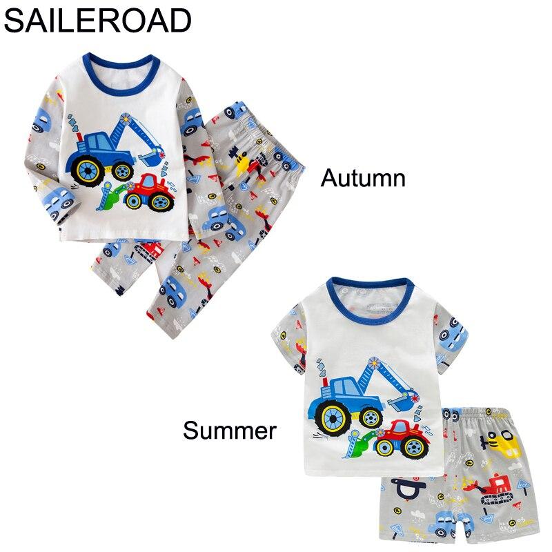 TUONXYE Children Excavator Pajamas For Boys 2020 Autumn Cotton Pyjamas Set Kids Pijama Short Sleeve Home Wear Sleepwear Suits