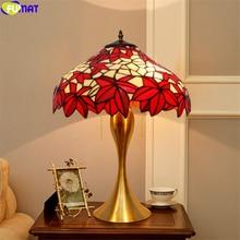 FUMAT Tiffany Style lampe de Table rouge feuille dérable abat-jour vitrail lampe de bureau coloré alliage Base artisanat décoratif Arts