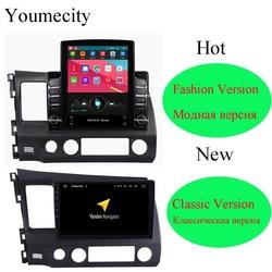 Oito núcleo/android 9.0 reprodutor de multimídia carro dvd gps para honda civic 2006-2011 rádio ips tela 2din 10.1 polegada rádio vídeo bt