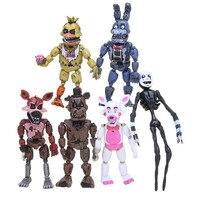 Экшн-фигурки Фредди 6 шт./компл., подвижные фигурки с осветлением, Фокси, Фредди, Чика, ПВХ, модельные игрушки