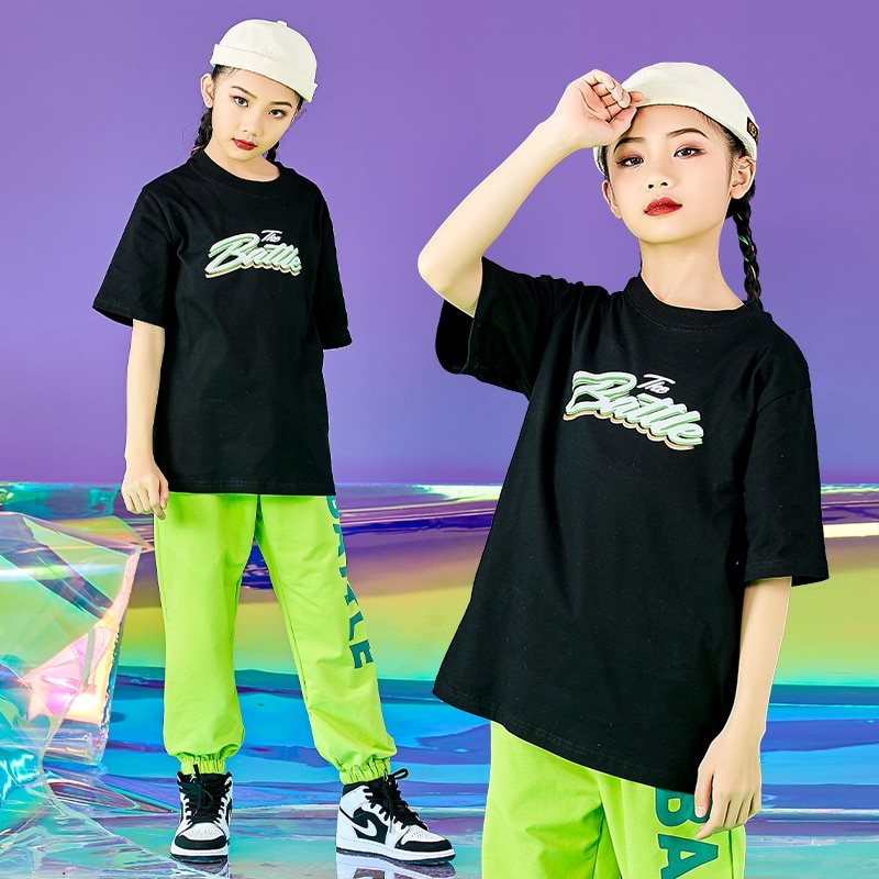 Girls Hip Hop Street Dance Clothes Children Loose Short Sleeves Pants Jazz Dancing Costumes Stage We
