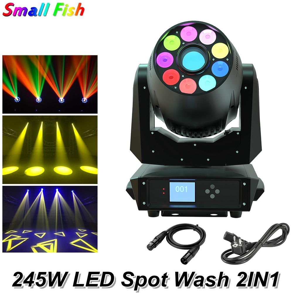 Professional 245W LED Spot Wash 2IN1 Moving Head Light DJ Club Stage Lighting DMX512 Sound Party Disco Effect Moving Head Lamp