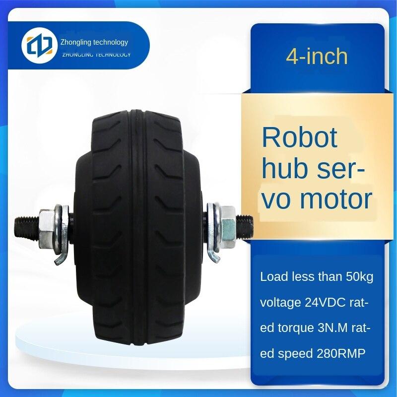 4-inch DC Brushless Wheel Servo Motor Driver Set Built-in Encoder AGV Trolley Motor Electrical 24V -10℃ ~ + 40℃ 400-1200 enlarge