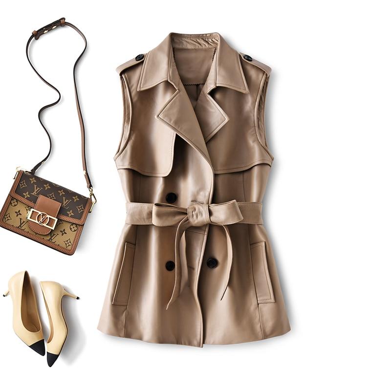 SHUCHAN Leather Jacket Women Sleeveless Spring/Autumn  Sheepskin  High Street Turn-down Collar Double Breasted Adjustable Waist