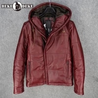 winter slim hooded 100 real leather jacket men brand fashion warm cowhide cotton short coat vintage casual long sleeve outwear