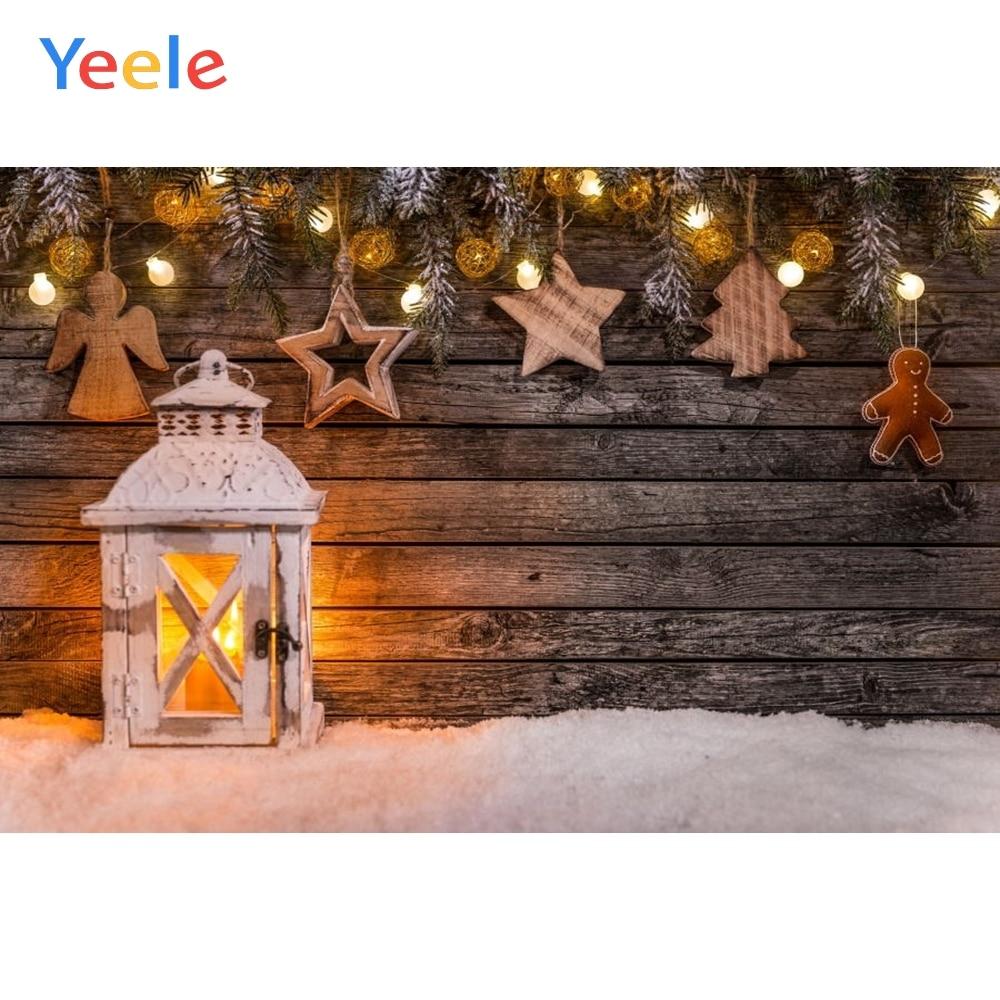 vintage wood board winter christmas tree branch photography backdrop vinyl photographic background for photo studio photophone Christmas Backdrop Vintage Wood Board Star Lantern Snow Photography Backdrops Photographic Background For Photo Studio Photozone