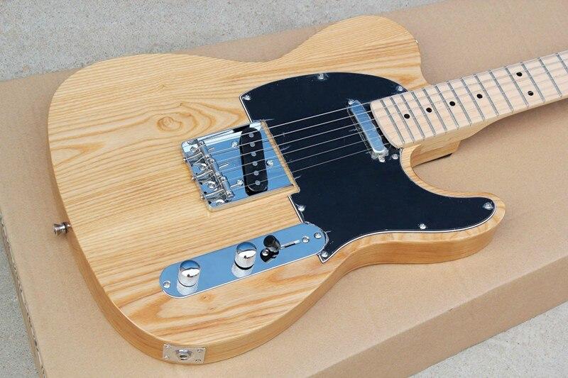Fabrik shop TL TELE ULME ASCHE Holz körper String-Thru-Körper, Schwarz Schlagbrett, ahorn Griffbrett der Elektrischen Gitarre Guitarra