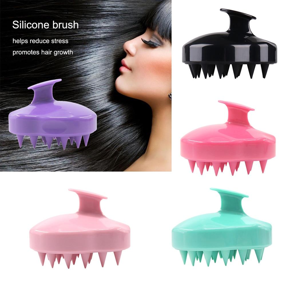 Mini peine masajeador de cabeza de mano de silicona de 5 colores, cepillo de champú de masaje, cepillo de ducha, cabeza de meridianos, peine masajeador para el cabello