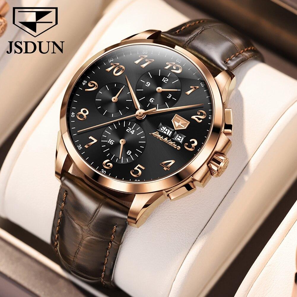 JSDUN الياقوت مرآة الرجال التلقائي ساعة ميكانيكية 50 متر مقاوم للماء المرحلة القمر ساعات للرجال Montre أوم حزام من الجلد