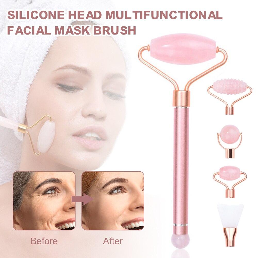 One Rod Five Heads Powder Crystal Jade Roller Facial Mask Brush Beauty Metal Rod Magnetic Massage Stick Set