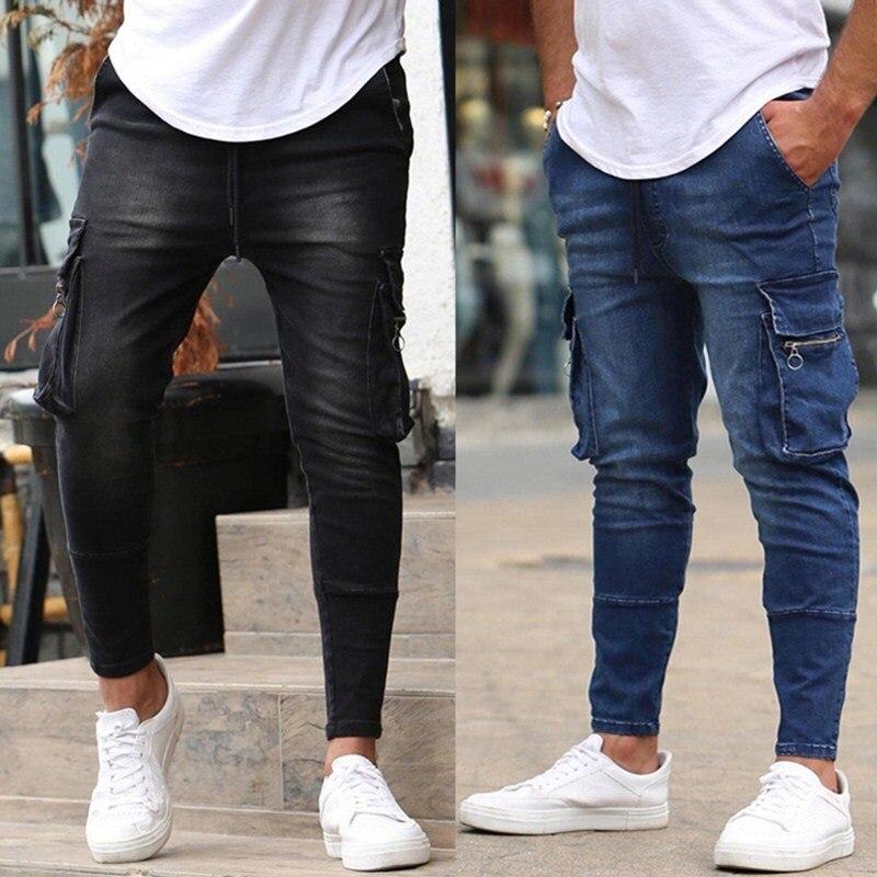 2021 на осень зиму Новая мужская стрейч джинсы деловые Повседневные Классические Стиль модные деним джинсы с молнией с множеством карманов