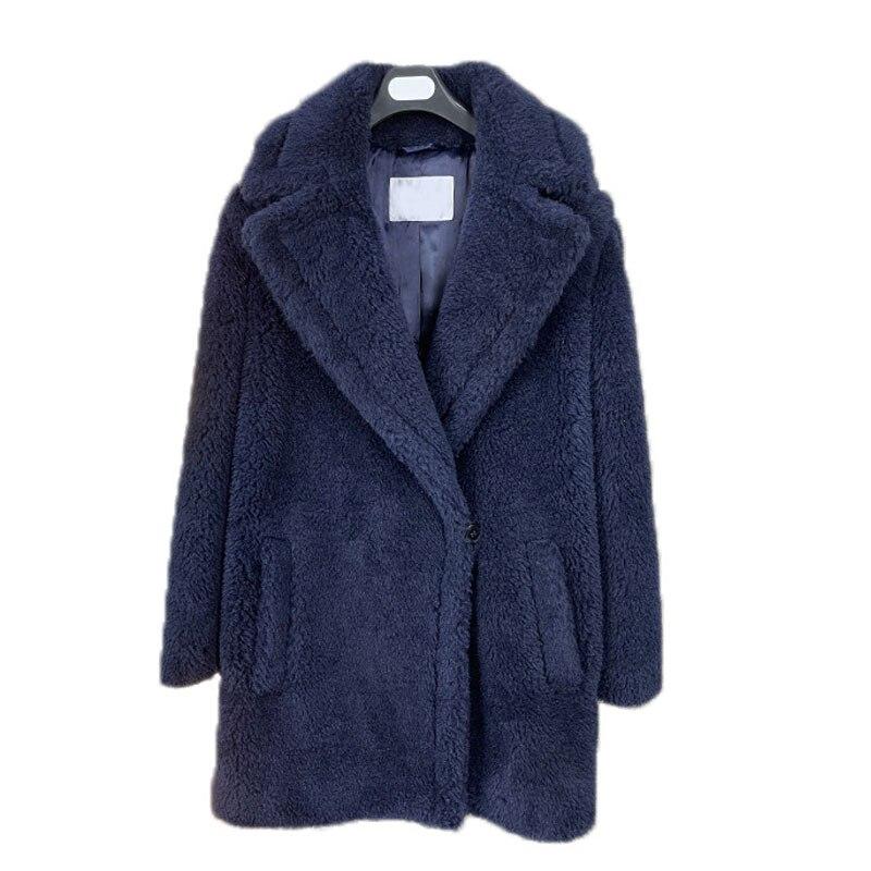 Теплая утолщенная куртка мишка тедди, синяя зимняя приталенная куртка из натурального овечьего меха, женская короткая куртка на одной пуго...