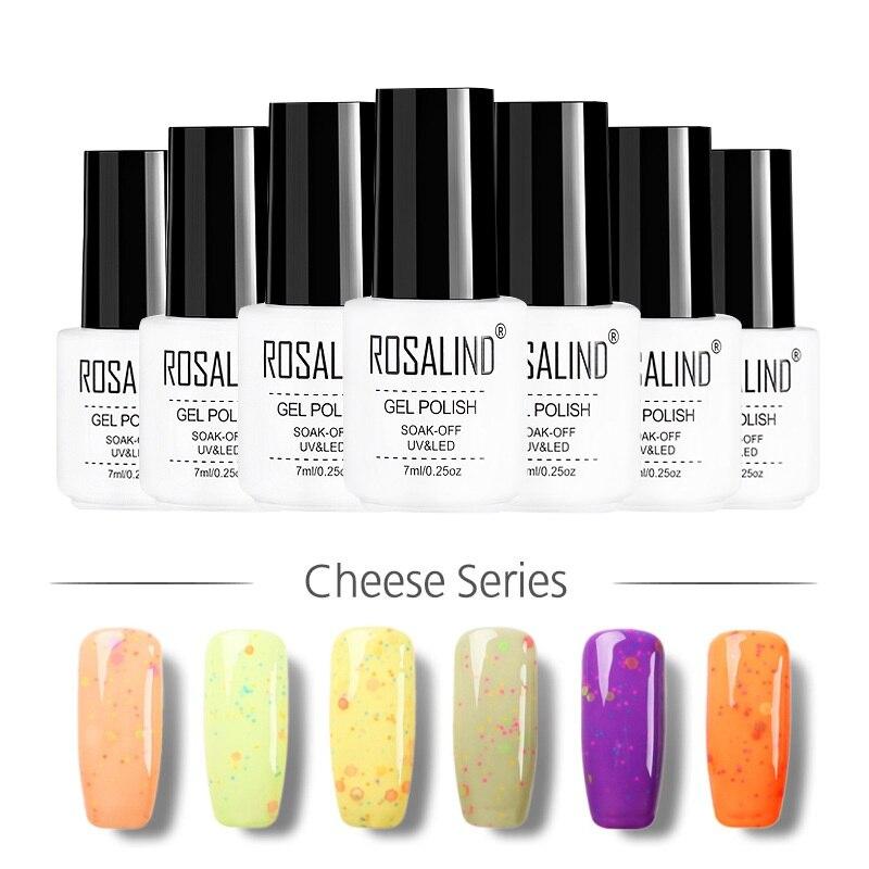 ROSALIND moda botella blanca remojo-Off UV Gel esmalte uñas pegamento saludable dedo Semi permanente Color queso 24 colores para la opción