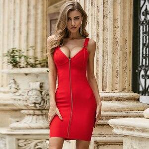Vero Sinly 2020 Summer Fashion Solid Sexy Strap V Neck Red Bodycon Women Bandage Dress Elegant Evening Party Dress Vestido