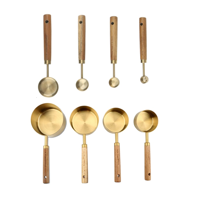 عملي 8 قطعة الفولاذ المقاوم للصدأ أكواب الملاعق الحساسة مقبض خشبي أدوات المطبخ الخبز