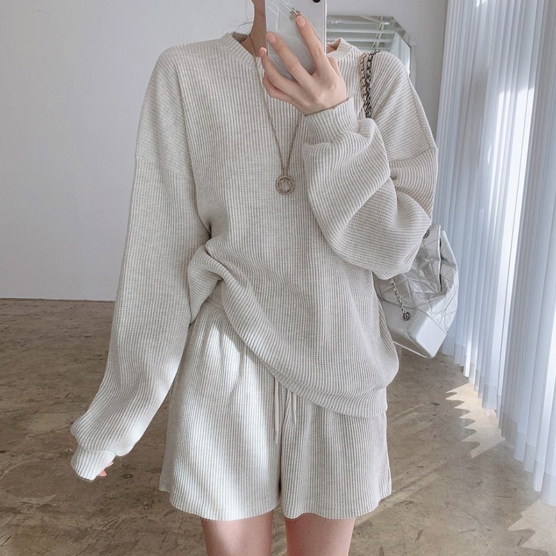 South Korea Casual Round Neck Pit Design Loose Long Sleeve Sweater + High Waist Straight Shorts Spor