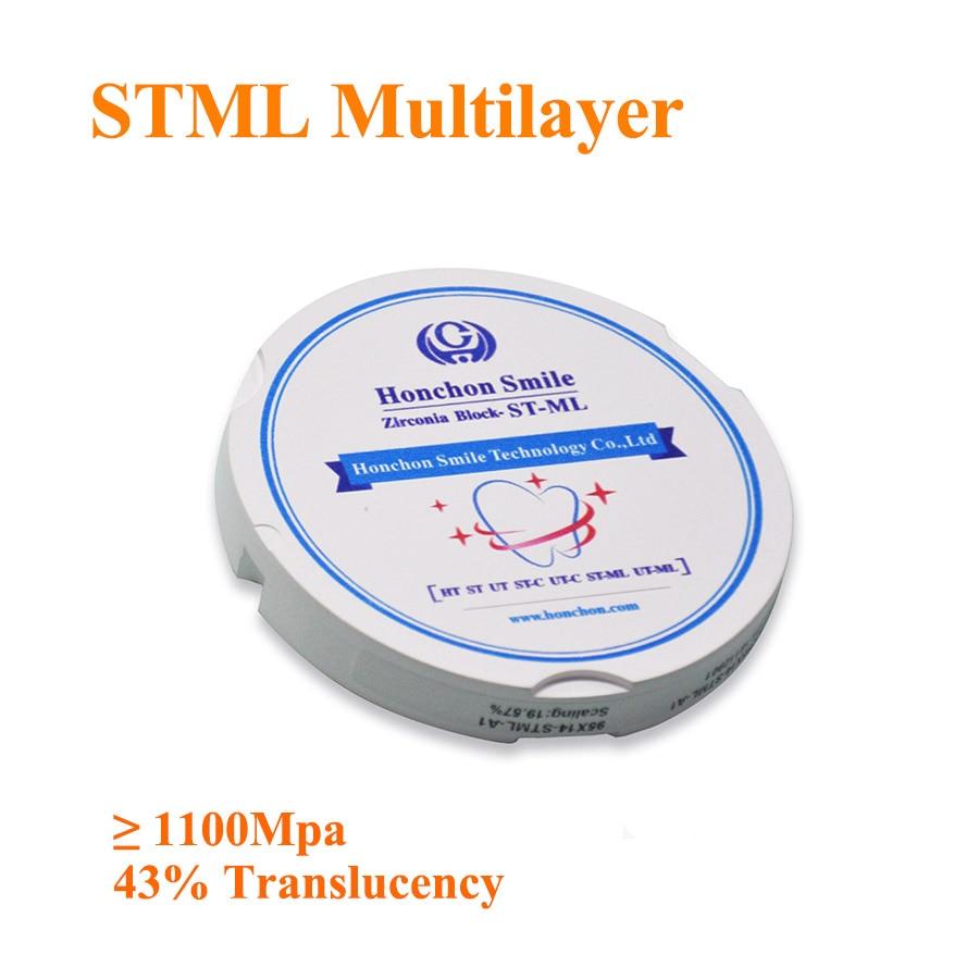 ST-ML 98*12mm dental multicapa blanco circona Super transluencia/multicapa zirconia bloque/Vita 16 sombras