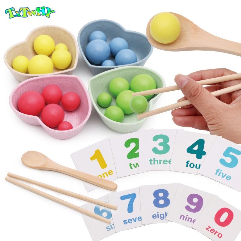 Дети для раннего развития монтессори цвет сортировки деревянные руки Тренировки Мозга клип бусины головоломки доска игрушки для детей
