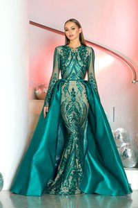 Long Sleeve 2 Pieces Gown in Emerald Green Prom Dress Style with Detachable Skirt Saudi Arabia Paillette Evening Gowns
