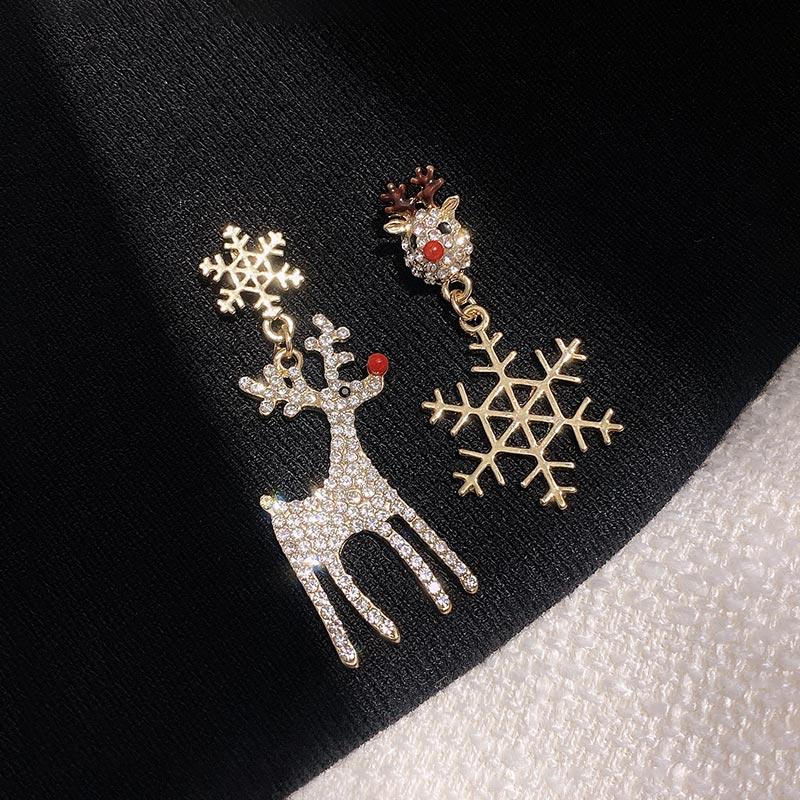 Elk Snowflake Types A and B Earrings Korean Elegant Christmas Gift Online Red Earrings High Grade Se