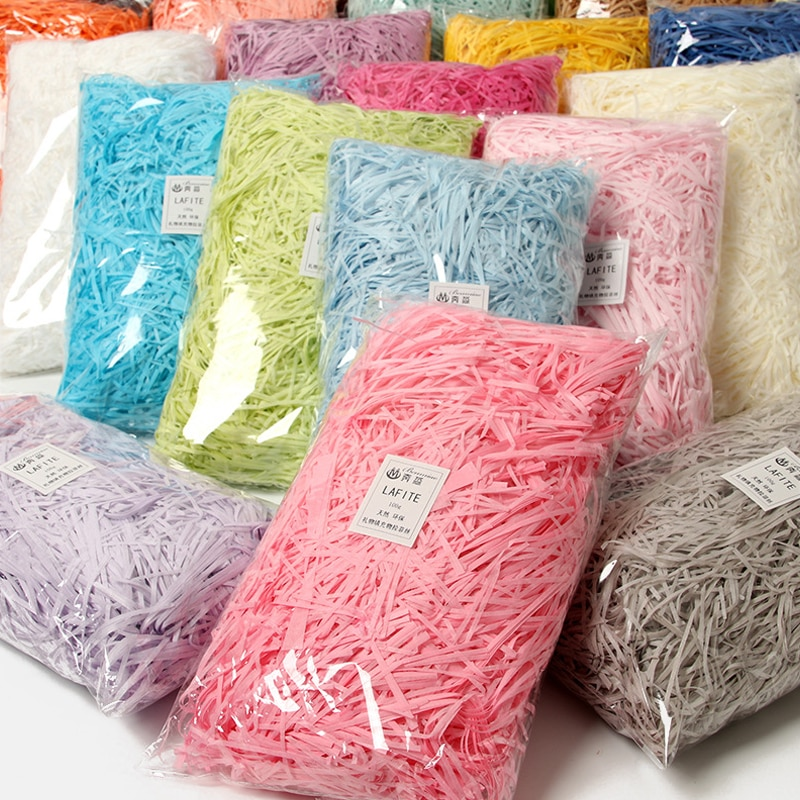 100g Colorful Shredded Crinkle Paper Party Craft Paper Gift Box Filler Craft Decoration Practical Candy Boxes Packaging Gift