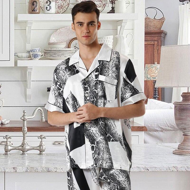 Men's Snakeskin Print Satin Pajamas Set Short Sleeve Shirt and Long Pants Set Satin Pyjamas Men Sleepwear