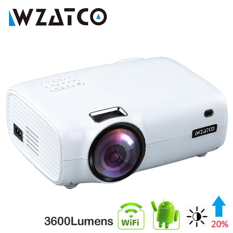 WZATCO E600 Android 9,0 Wifi умный портативный мини светодиодный проектор Поддержка Full HD 1080p 4K AC3 видео домашний кинотеатр проектор