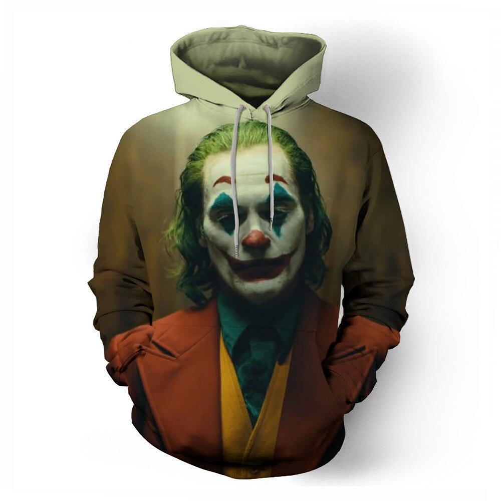 Película Joker 2019, Sudadera con capucha para Cosplay, disfraz estampado de payaso de Batman El Caballero Oscuro, sudaderas con capucha en 3D