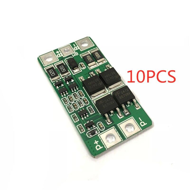 10pcs 2 série 6.4V de lítio de fosfato de ferro de Duas séries de 7.4V placa de proteção da bateria de lítio de equilíbrio 8.4V sobrecarga 10A atual