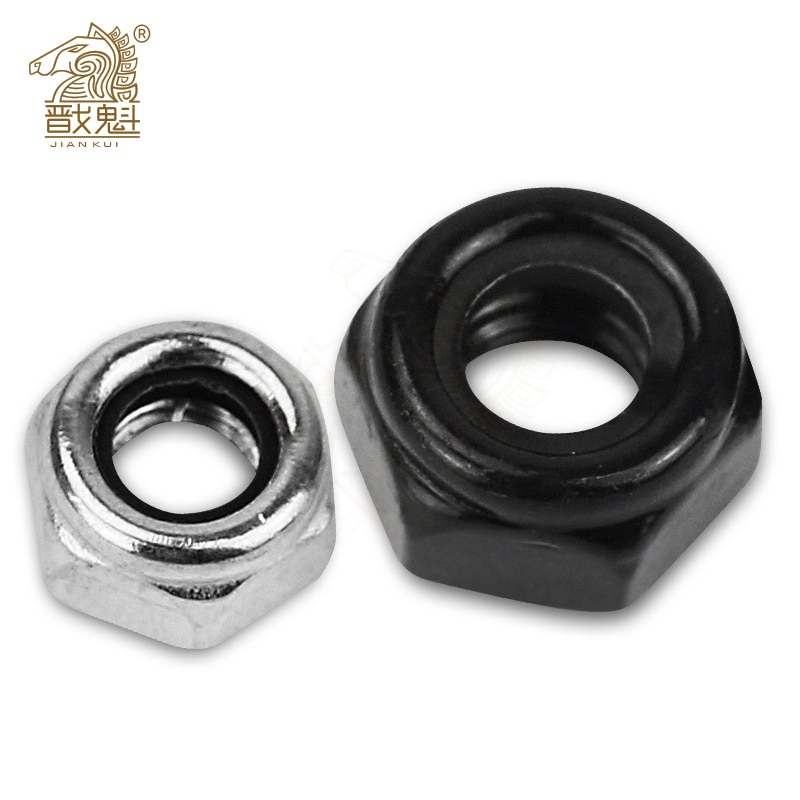 AliExpress - 2/5/25pcs M2 M2.5 M3 M4 M5 M6 M8 M10 M12 M16 304 Stainless Steel Black Hex Nylon Insert Lock Nut Self-locking Nylock Nut Locknut