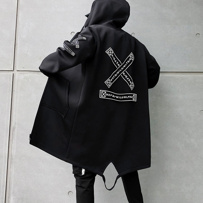 2021 Autumn Men Hooded Jackets Print Harajuku Windbreaker Ribbon Overcoat Male Casual Outwear Hip Hop Streetwear Coats LBZ155