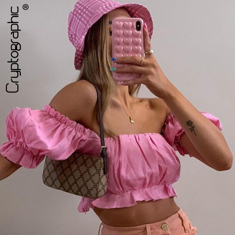 Cryptographic Off Shooulder, camisetas de moda rosa para mujeres, Top corto, camisetas de verano, manga de linterna, blusas sexis sin espalda, Camisetas, Tops