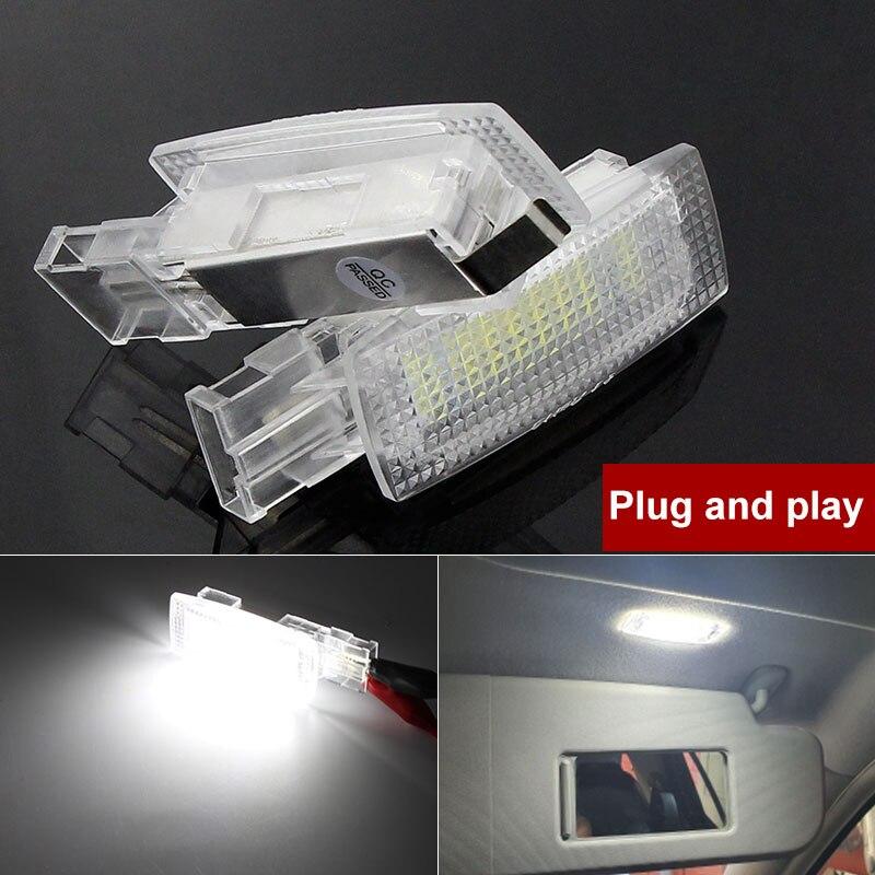 Canbus led interior viseira de sol vaidade espelho luz leitura lâmpadas para vw golf4 5 6 7 plus passat b5 b6 b7 cc jetta polo beetle eos