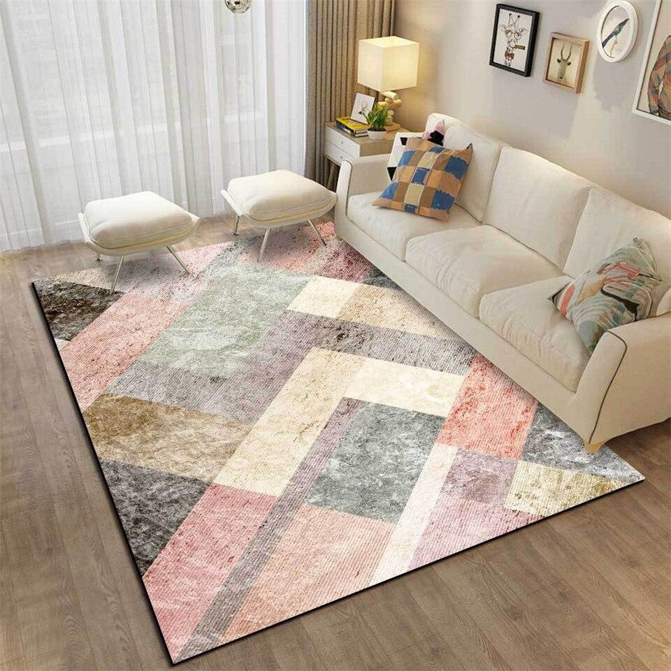 Alfombra nórdica Rosa gris con estampado de mármol para sala de estar, alfombra para el hogar sin pelusa, alfombra antideslizante para el suelo, alfombra para el dormitorio y el baño