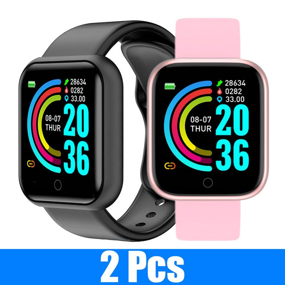 2 PCS Y68 Smart Watch Bluetooth Fitness Tracker Blood Pressure wristband Waterproof Heart Rate Monit
