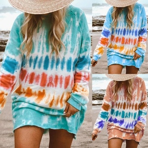 2021women's color tie dyed long sleeve loose round neck dress Free shipping The new listing