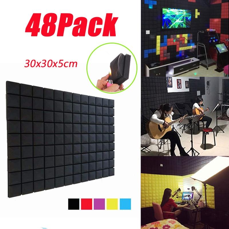 BEIYIN[48/Pack] لوحات رغوة صوتية الفطر ستوديو معالجة الصوت عازل للصوت لوحات عزل الصوت البلاط 12x2x2 بوصة
