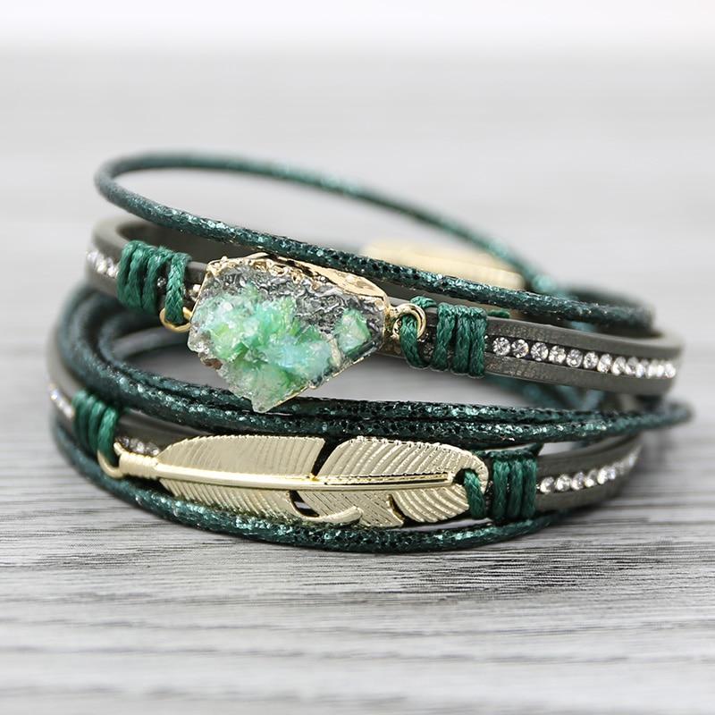 Bege pulseiras de couro para as mulheres multicamadas druzy pulseira vintage pena de ouro pingente pulseira artesanal jóias 2019