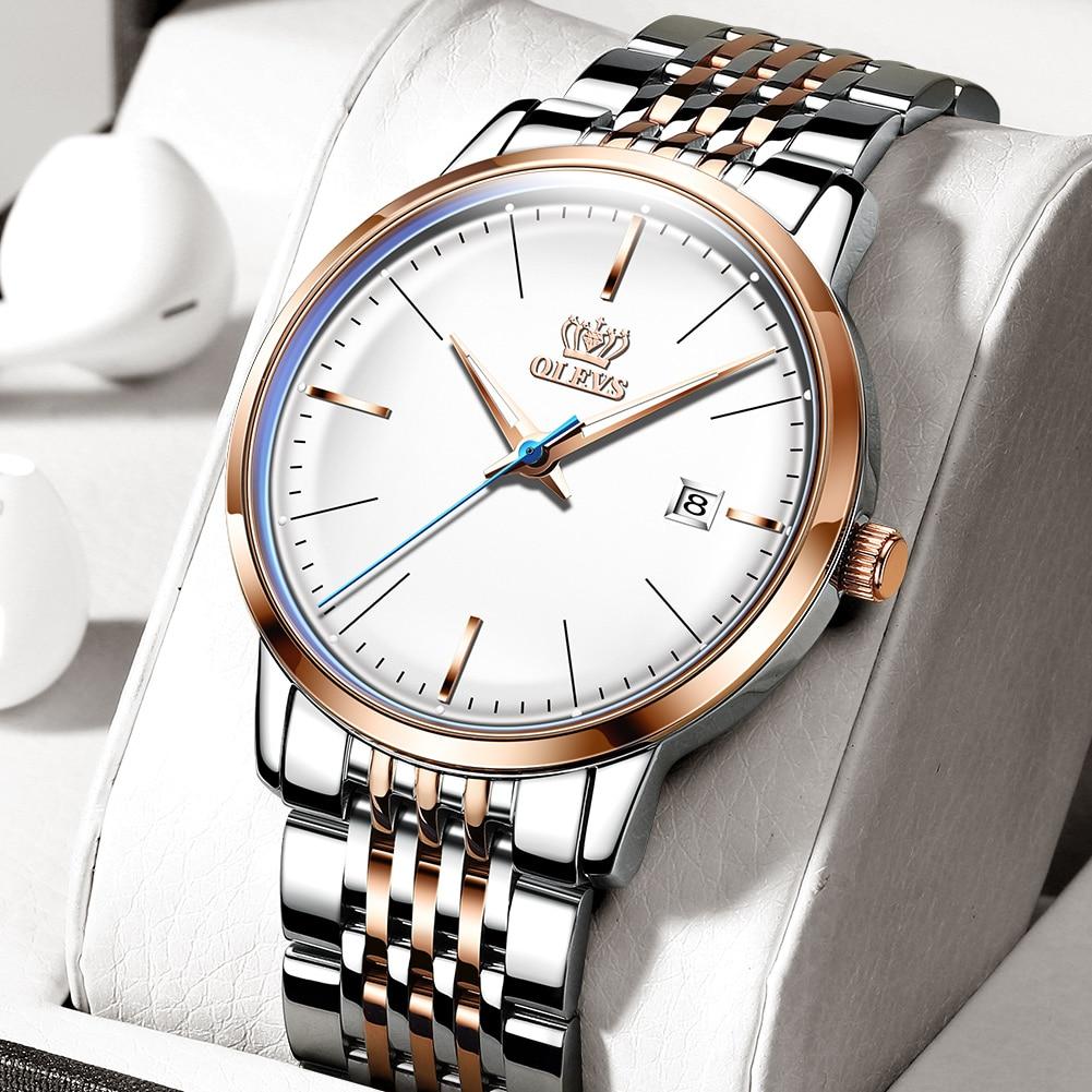 Relógio de Pulso Masculino à Prova Mecânico Automático Dwaterproof Água Estilo Negócio Aço Pulseira Luminosa Mãos Elegante Moda Masculina
