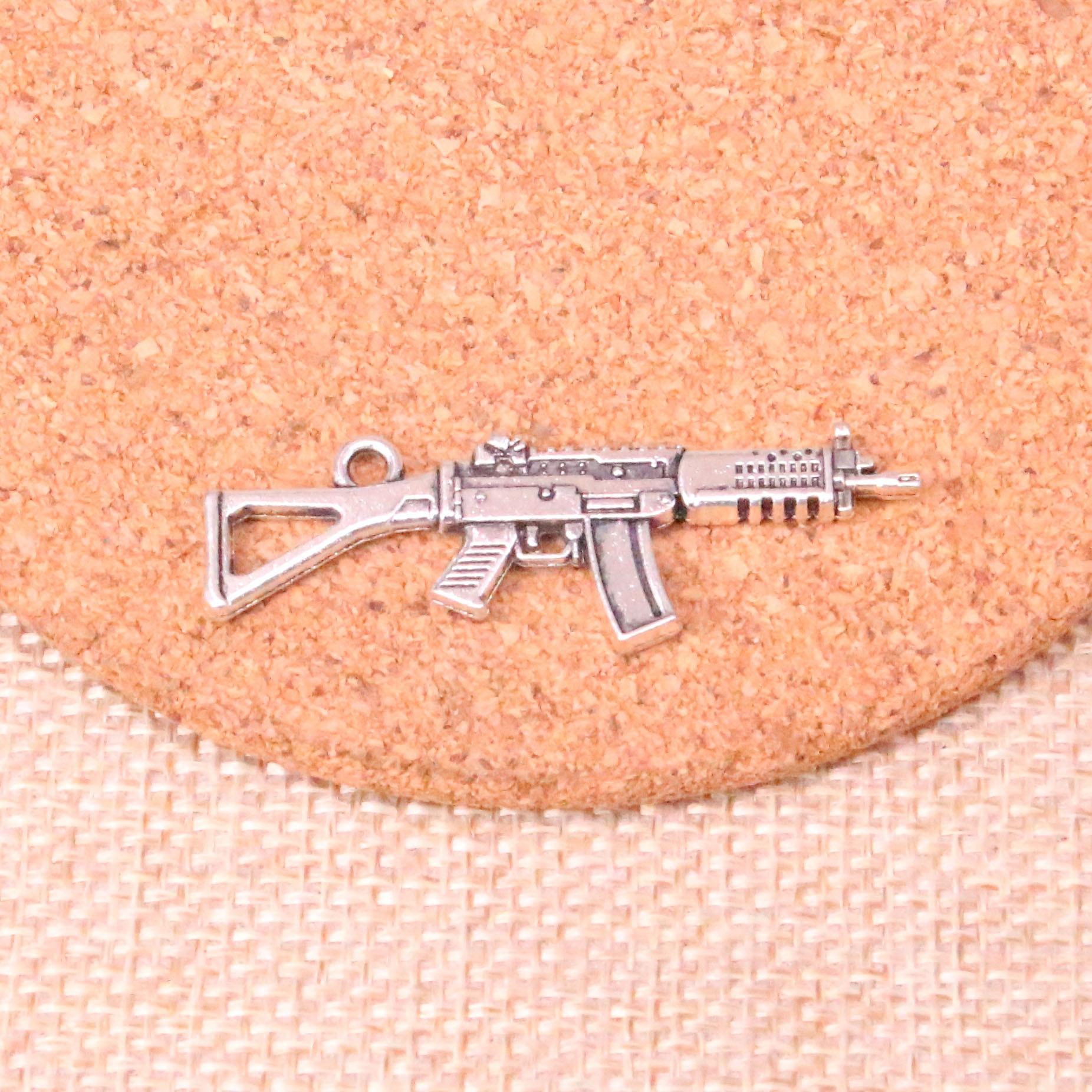 33 pçs arma submáquina encantos liga de zinco pingente para colar, brinco pulseira jóias diy artesanal 45*13mm