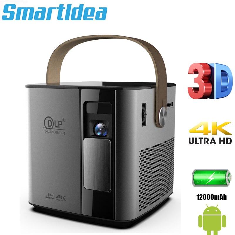 Smartldea-miniproyector P12 4K 3D, android 9,0, con batería integrada, 5G, wifi, BT4.1,...