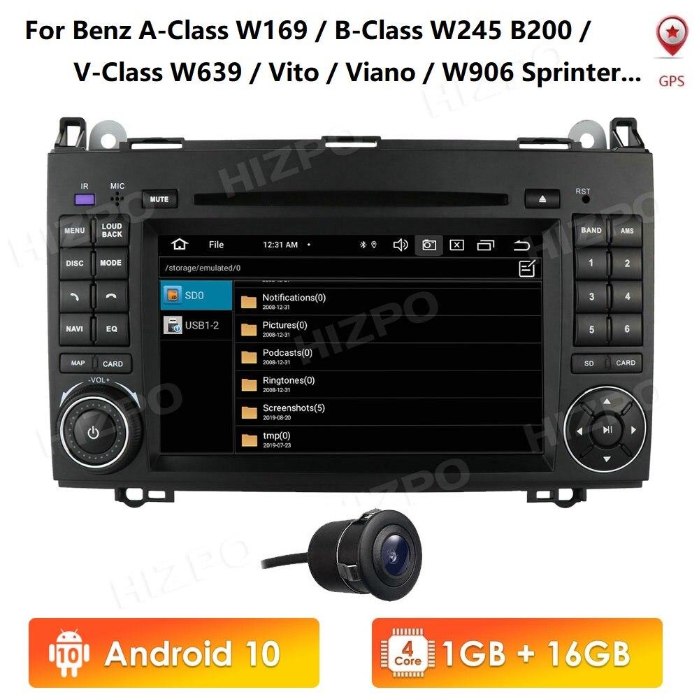 Android10 سيارة مشغل وسائط متعددة لتحديد المواقع Autoradio لمرسيدس بنز A-Class W169/ B-Class W245 V-Class W639 W906 Sprinter 7 بوصة 2din