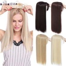 Snoilite 18 pouces droite toupet cheveux synthétique toupet cheveux pour les femmes chauves femmes topper postiche cheveux avec délié naturel