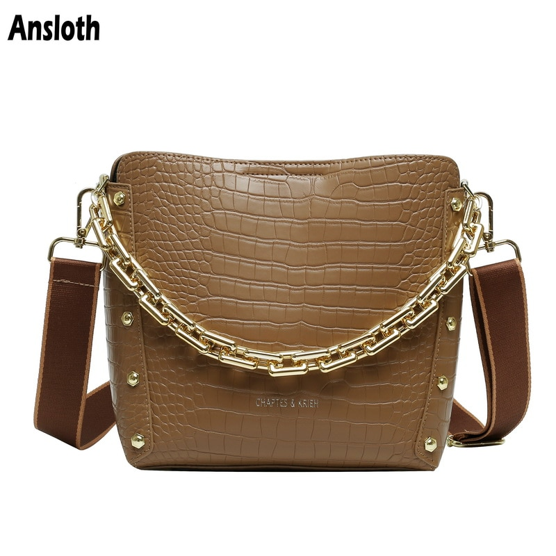 Ansloth Crocodile Pattern Women Bags Rivet Lady Shoulder Bags Design Luxury Chain High Capacity Crossbody Bags and Purse HPS1002