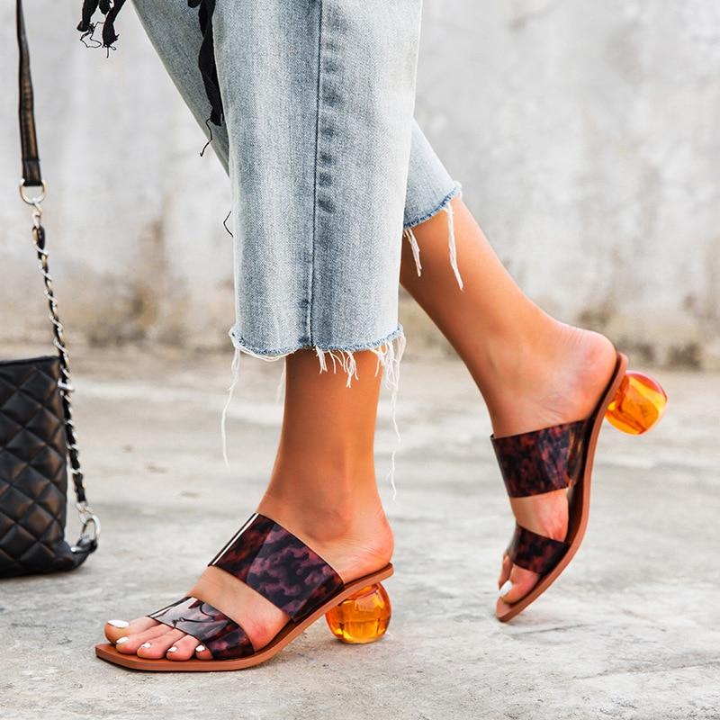 2020 de las mujeres del verano Zapatos de bola de cristal con estilo caliente efectivo redondo único leopardo con cinta con patrón perenne punto 35 a 43