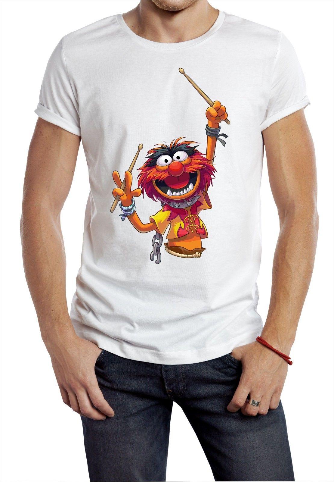 Camiseta de Animal blanca de los años 80 y 90, camiseta Retro de baterista, divertida camiseta de dibujos animados de cerdito salvaje de Kermit, nueva camiseta Unisex para hombres 032464