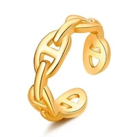 new lock ring female metal chain index finger rings punk fashion hollow simple ladies tail ring jewelry women